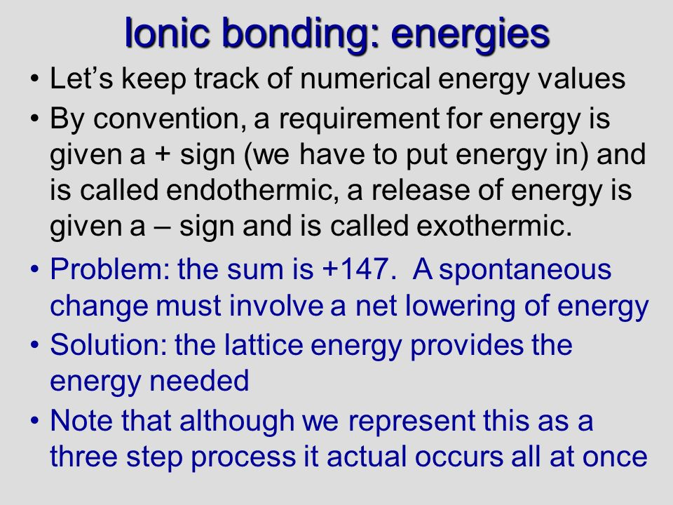 Ionic bonding: energies