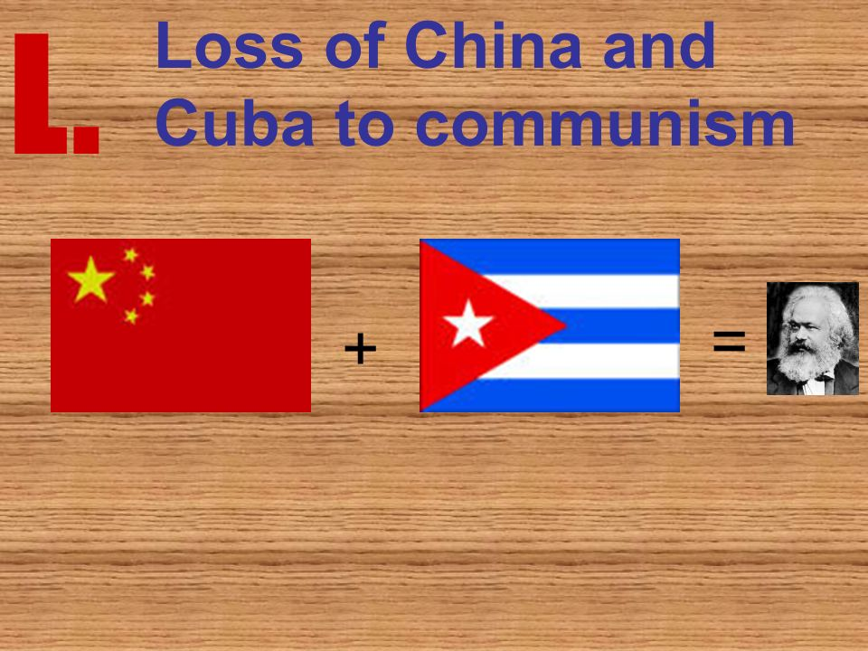 L. Loss of China and Cuba to communism = +