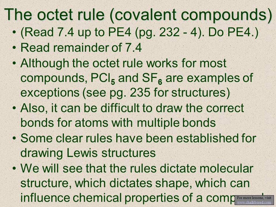 The octet rule (covalent compounds)