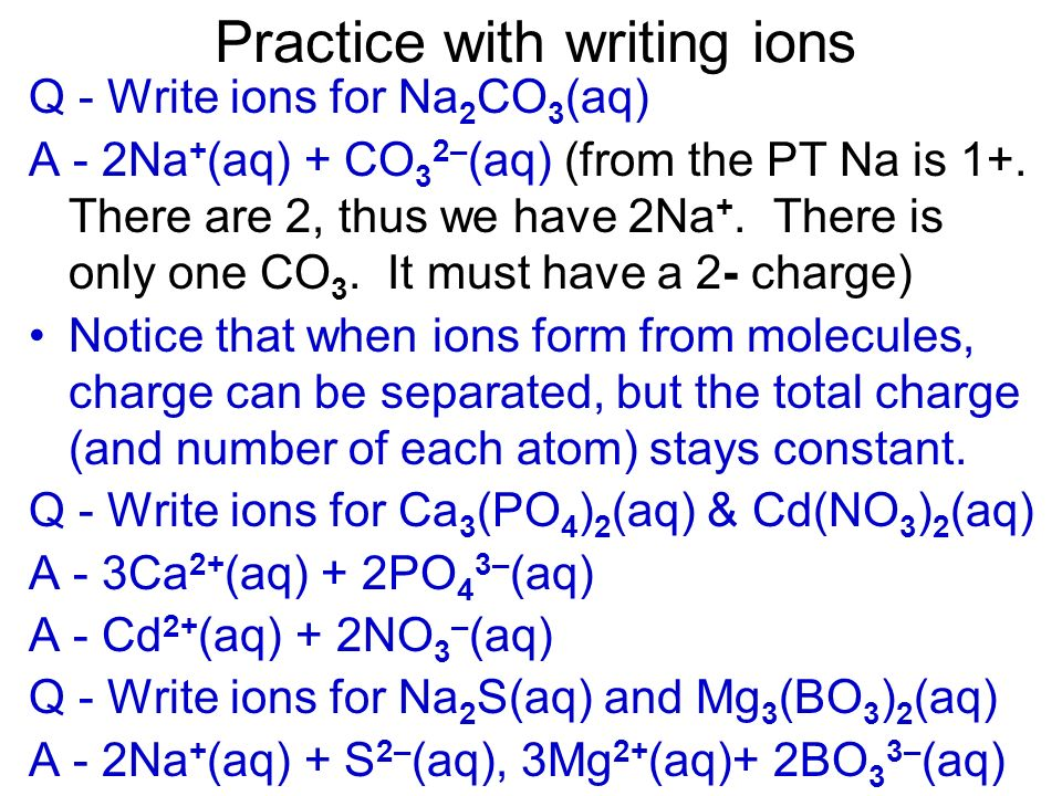 Practice with writing ions