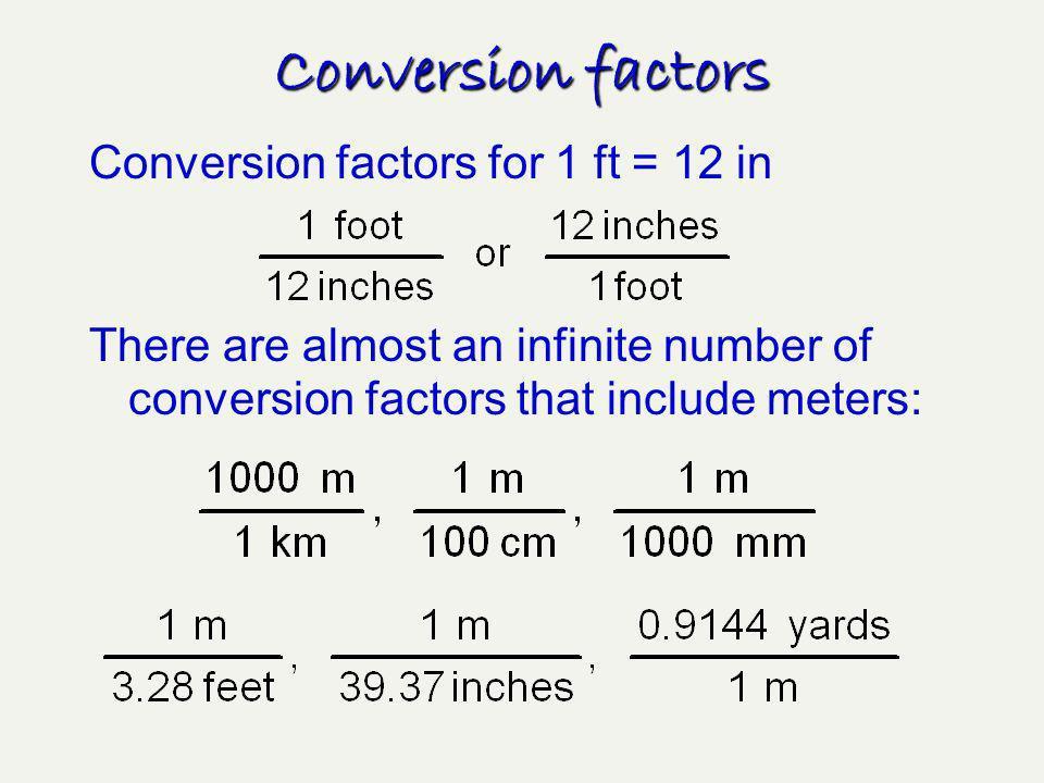 Conversion factors Conversion factors for 1 ft = 12 in
