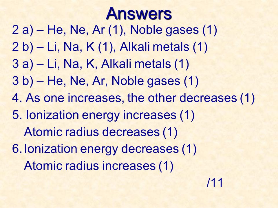 Answers 2 a) – He, Ne, Ar (1), Noble gases (1)