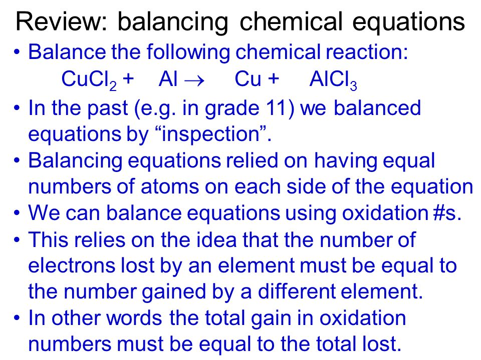 Review: balancing chemical equations