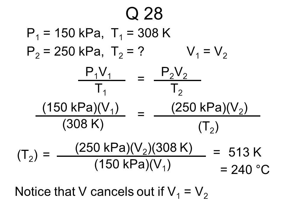 Q 28 P1 = 150 kPa, T1 = 308 K P2 = 250 kPa, T2 = V1 = V2 P1V1 T1 =