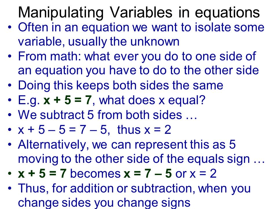 Manipulating Variables in equations