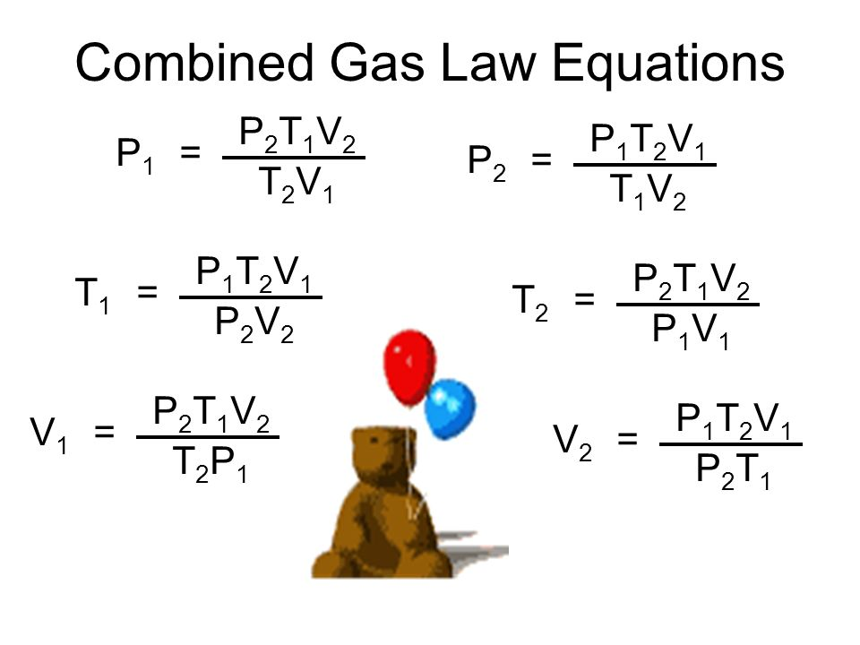 Combined Gas Law Equations