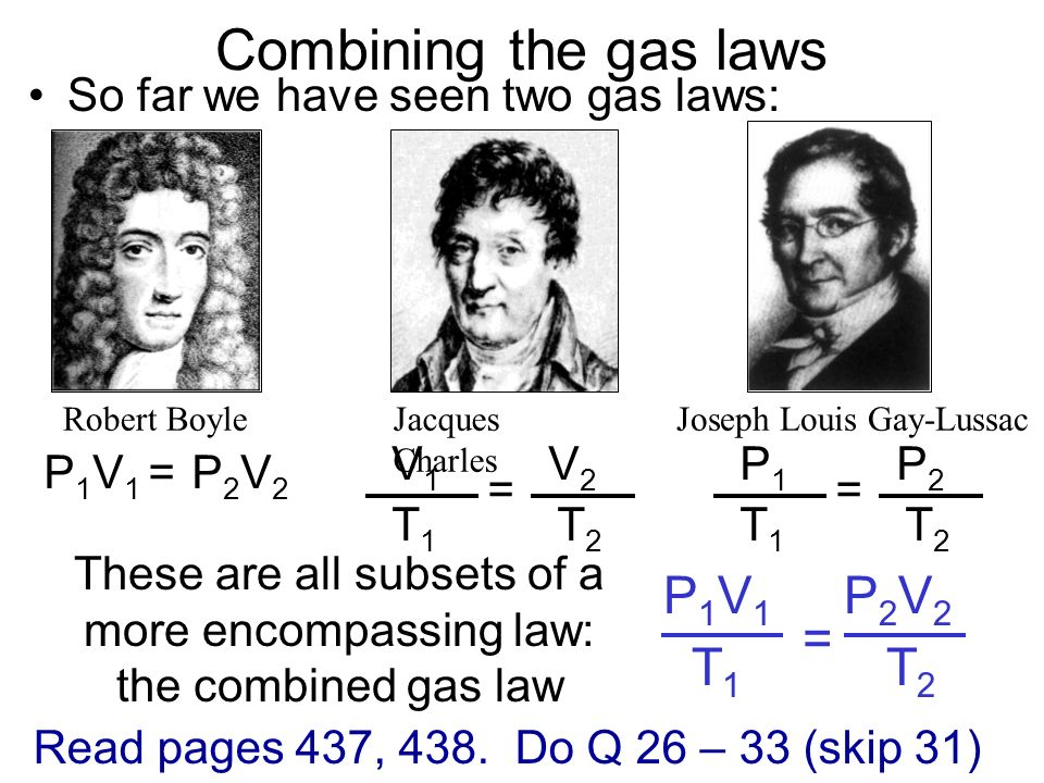These are all subsets of a more encompassing law: the combined gas law