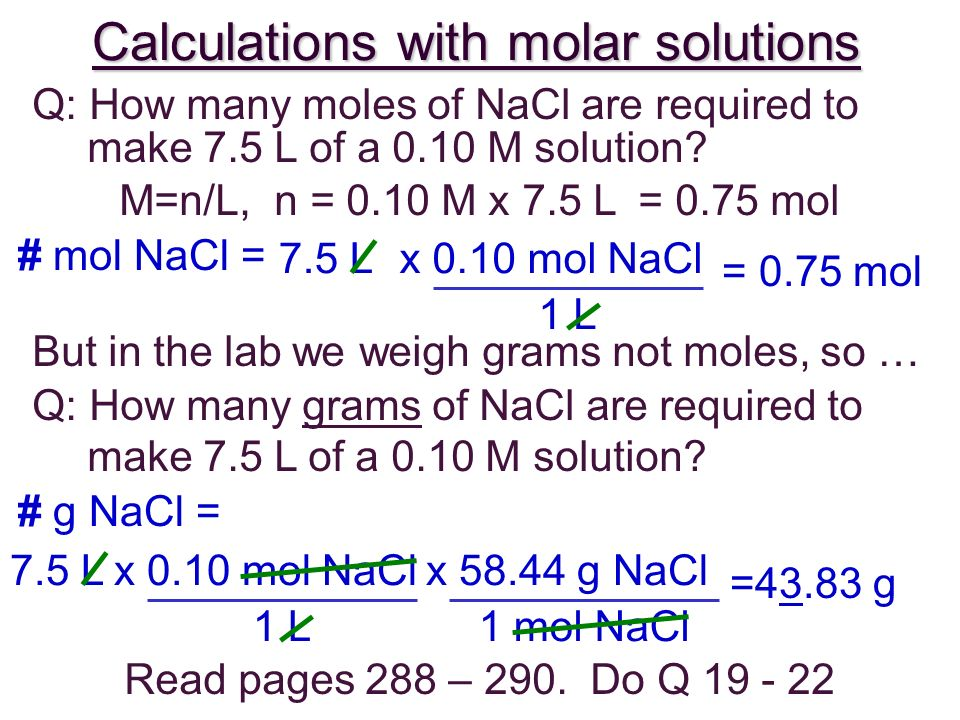 Calculations with molar solutions
