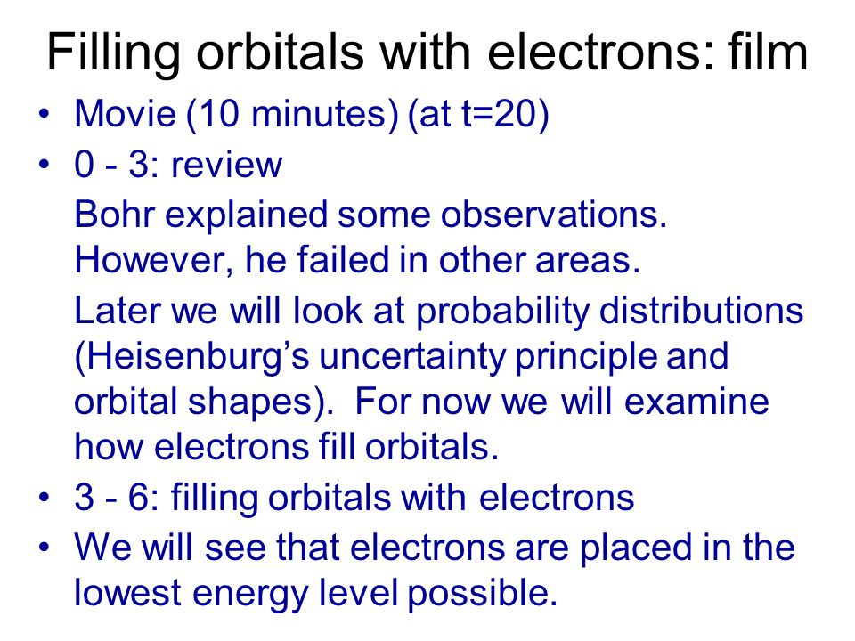 Filling orbitals with electrons: film