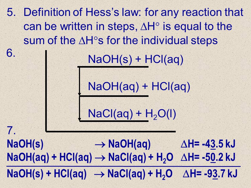 Definition of Hess's law: for any reaction that can be written in steps, H is equal to the sum of the Hs for the individual steps