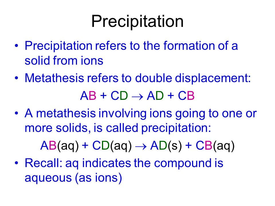 AB(aq) + CD(aq)  AD(s) + CB(aq)