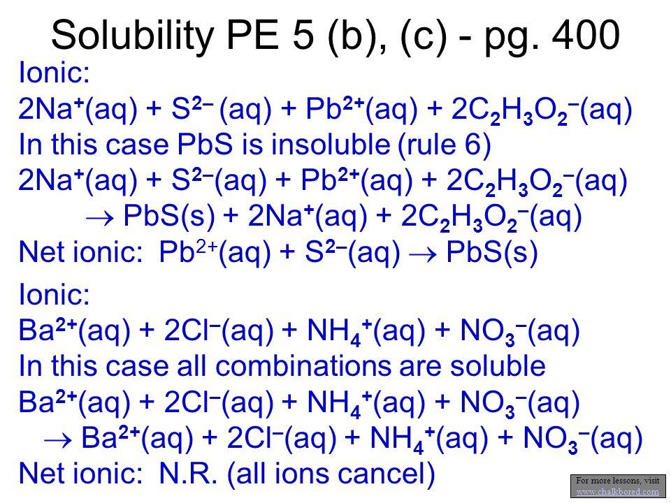 Solubility PE 5 (b), (c) - pg. 400
