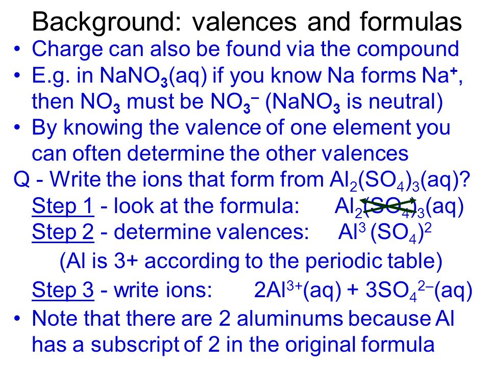 Background: valences and formulas