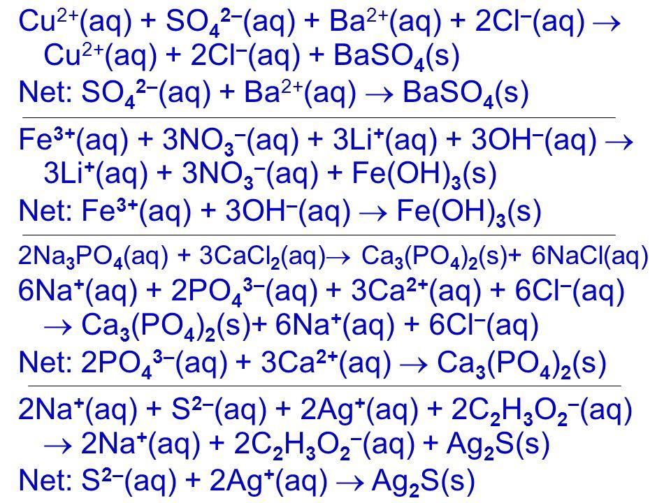 Net: SO42–(aq) + Ba2+(aq)  BaSO4(s)