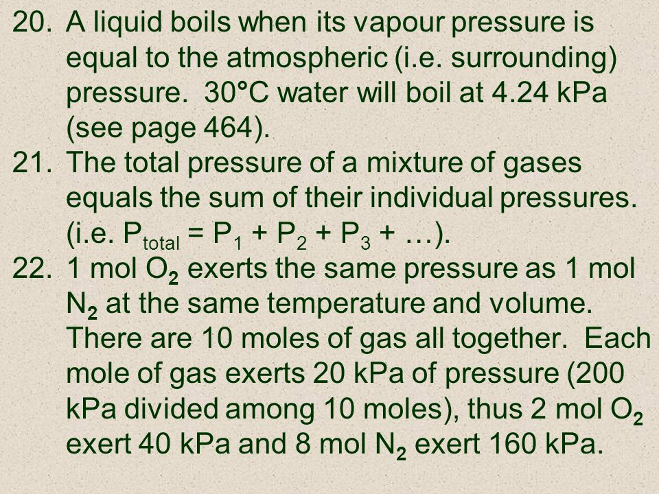 A liquid boils when its vapour pressure is equal to the atmospheric (i
