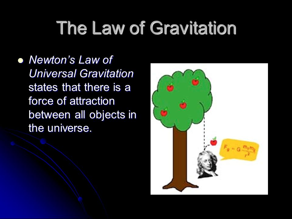 a discussion about the newtons law of universal gravitation The magnitude of that force, fg, can be calculated using newton's law of universal gravitation: this law tells us that the force of gravity between two objects is proportional to each of the masses(m1 and m2) and inversely proportional to the square of the distance between them (r.