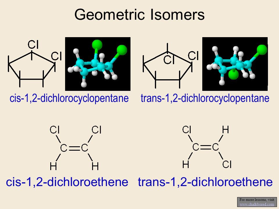 Geometric Isomers cis-1,2-dichloroethene trans-1,2-dichloroethene