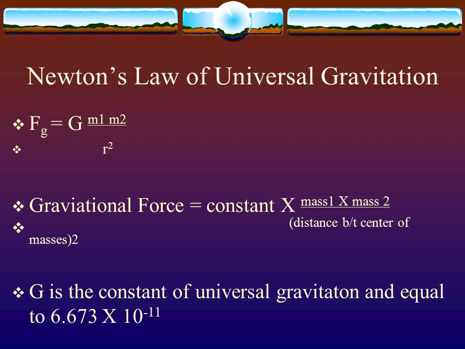 newtons law of universal gravitation