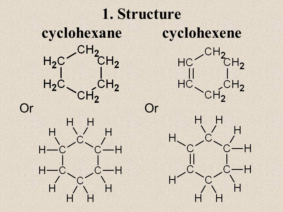 1. Structure cyclohexane cyclohexene