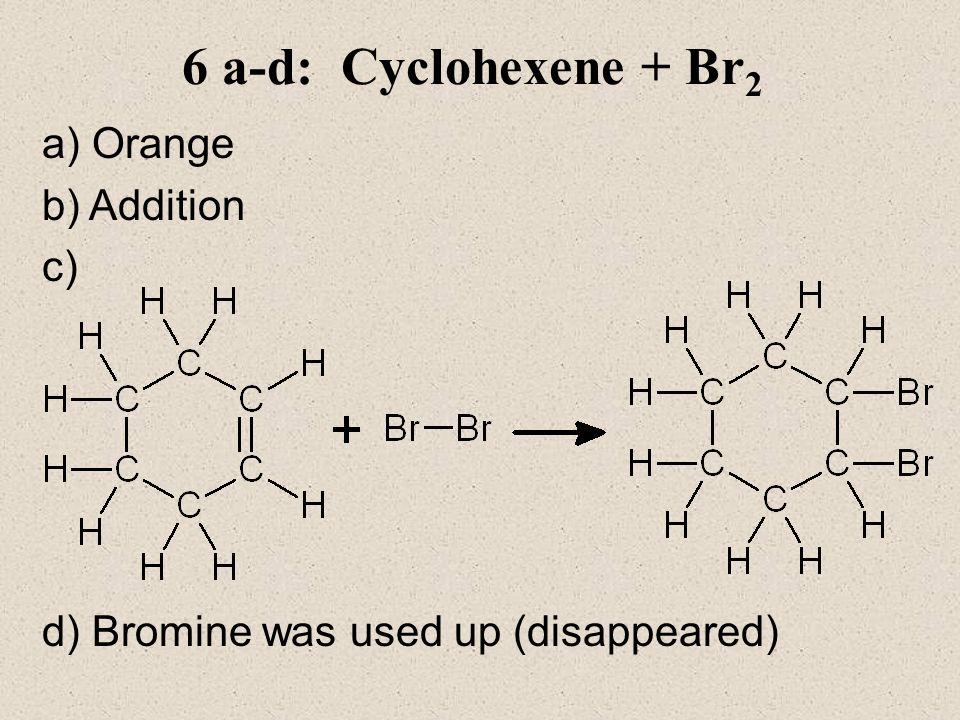6 a-d: Cyclohexene + Br2 a) Orange b) Addition c)