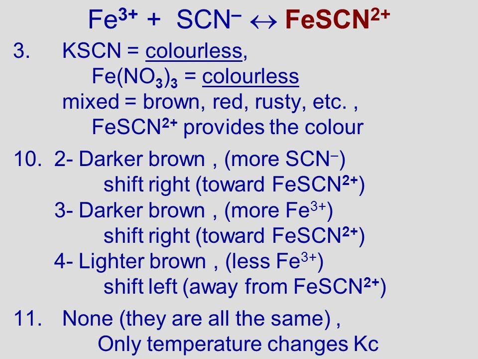Fe3+ + SCN–  FeSCN2+ KSCN = colourless, Fe(NO3)3 = colourless