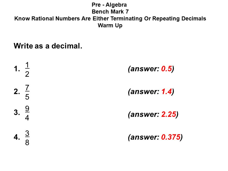 Write as a decimal (answer: 0.5) (answer: 1.4) - ppt download