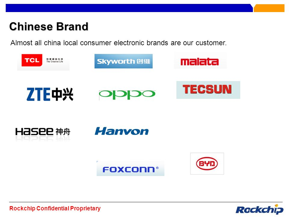 Chinese Brand Almost all china local consumer electronic brands are our customer.
