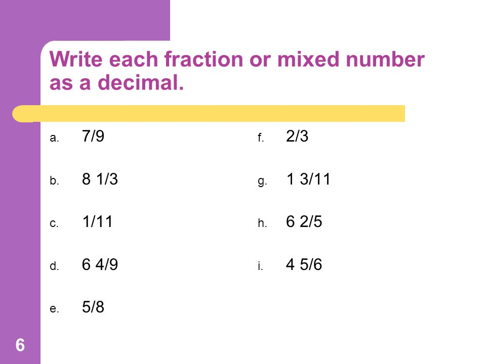 Converting Fractions to Decimals & Decimals to Fractions - ppt ...