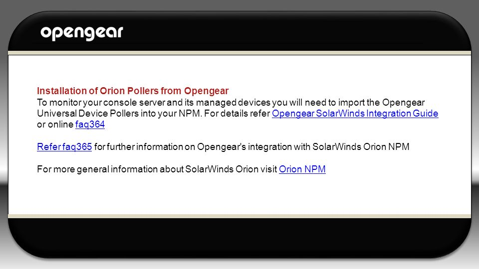 Installation of Orion Pollers from Opengear