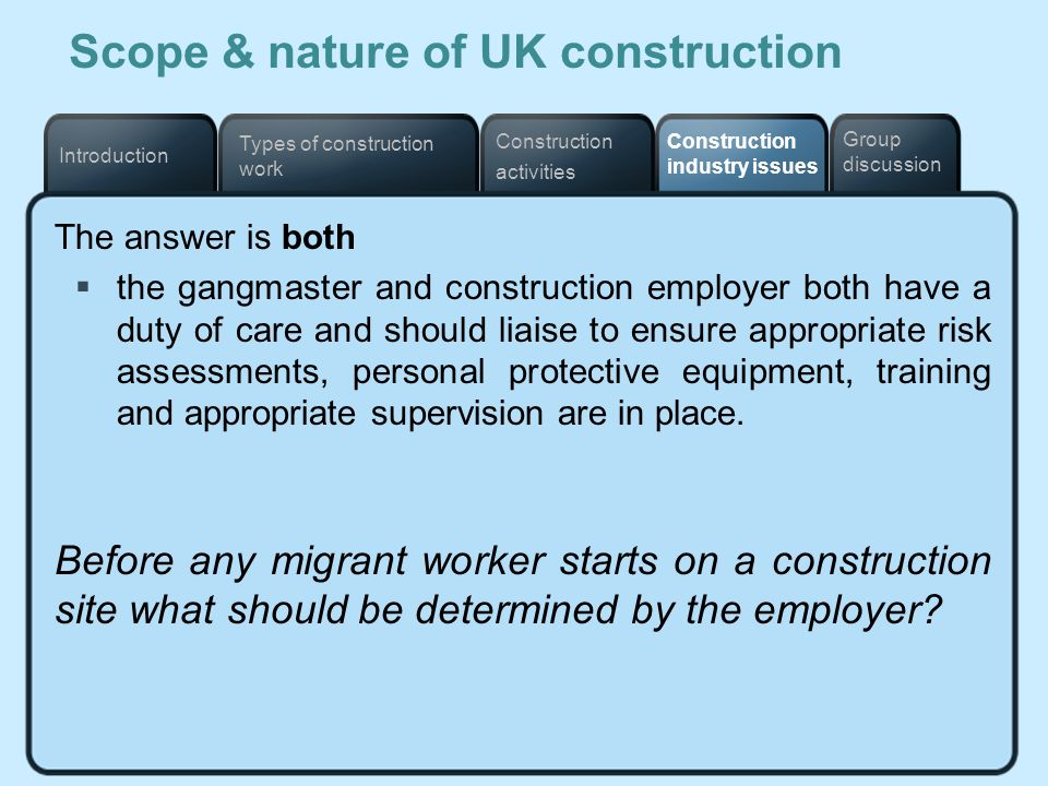 Scope & nature of UK construction