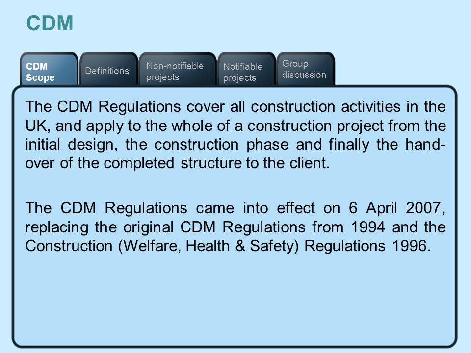 CDM Notifiable projects. Definitions. Non-notifiable projects. CDM Scope. Group discussion.
