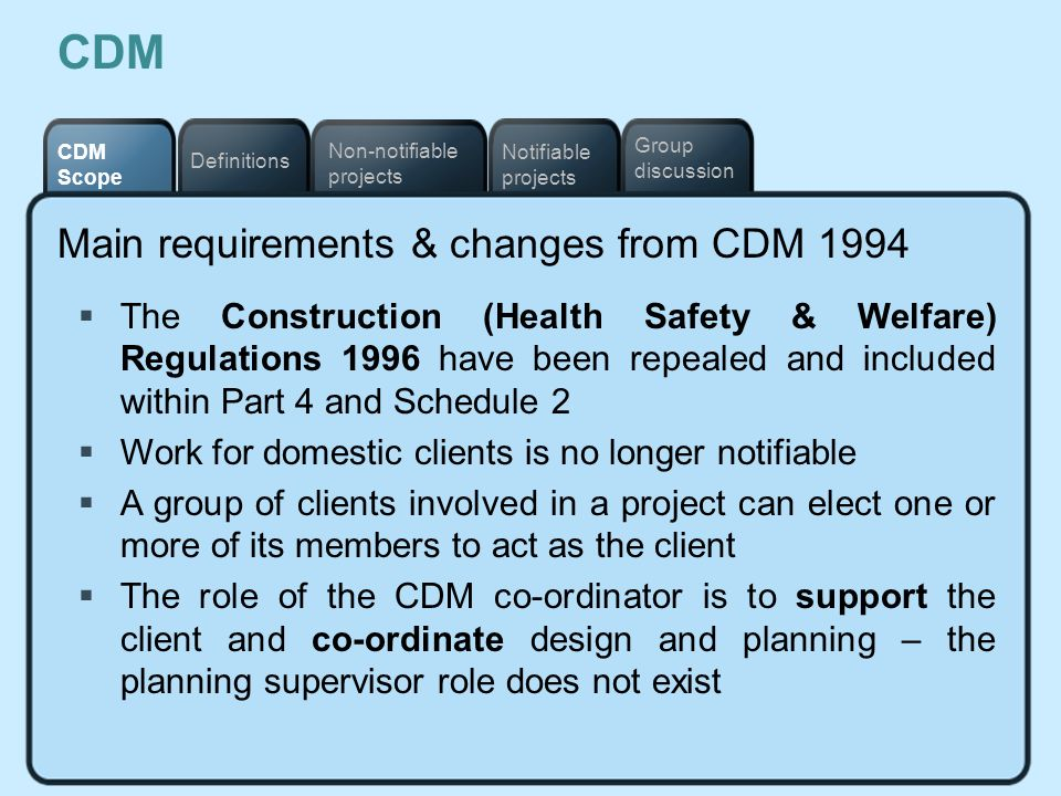 CDM Main requirements & changes from CDM 1994