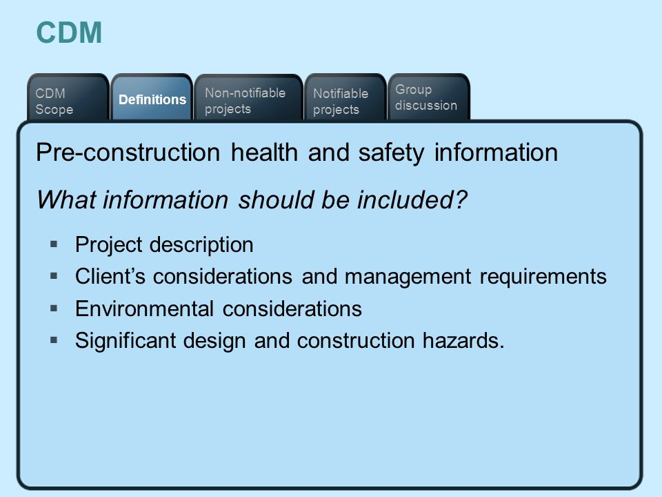 CDM Pre-construction health and safety information