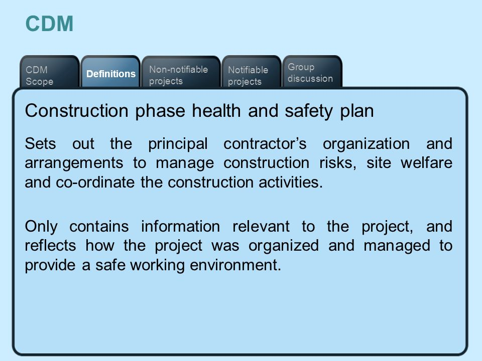 CDM Construction phase health and safety plan