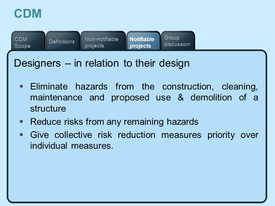 CDM Designers – in relation to their design