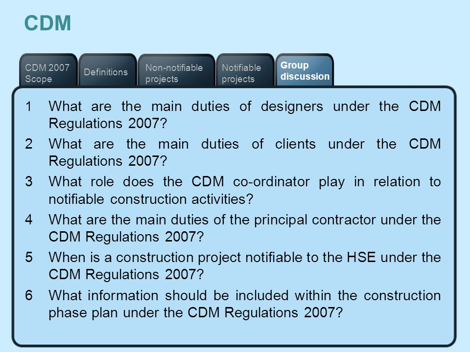 CDM Notifiable projects. Definitions. Non-notifiable projects. CDM 2007 Scope. Group discussion.