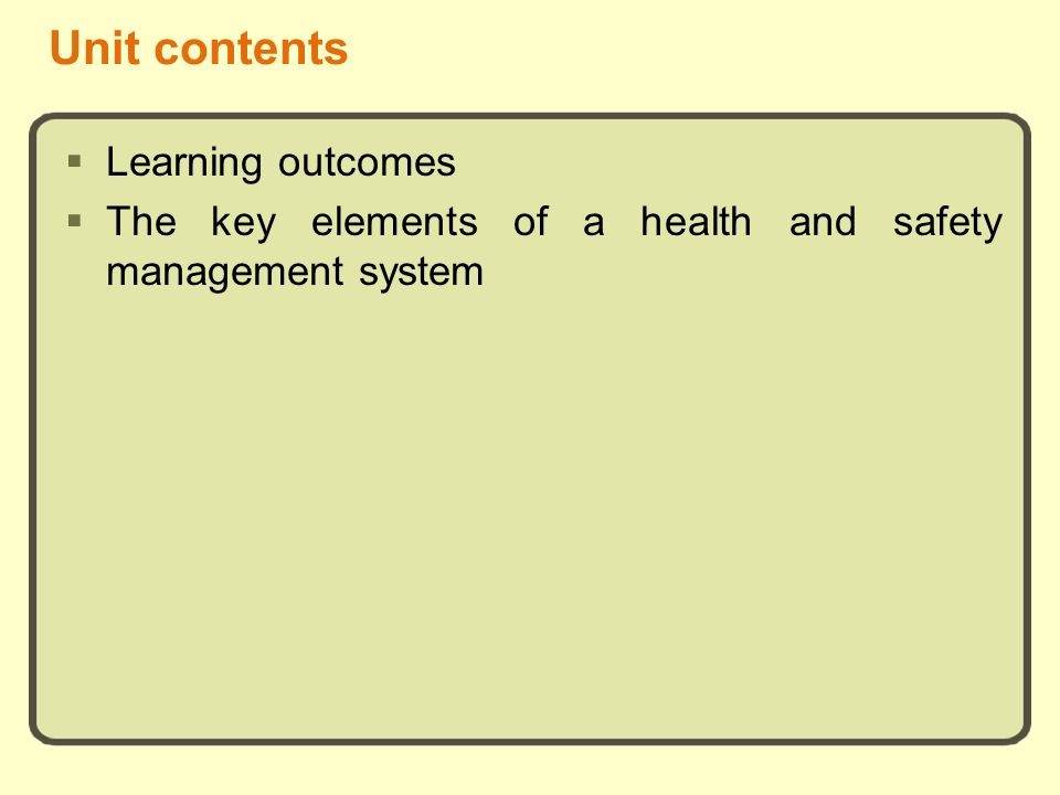 Unit contents Learning outcomes