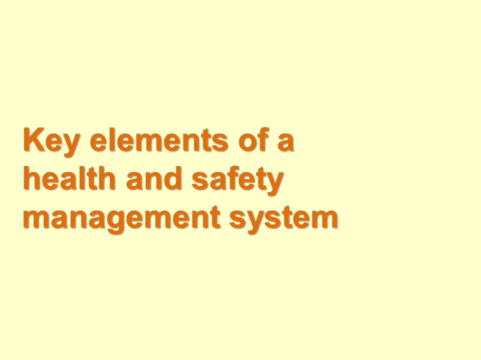 Key elements of a health and safety management system