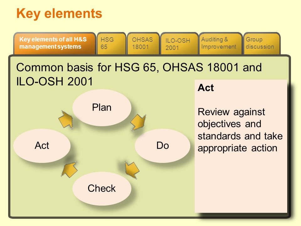 Key elements Common basis for HSG 65, OHSAS 18001 and ILO-OSH 2001 Do: