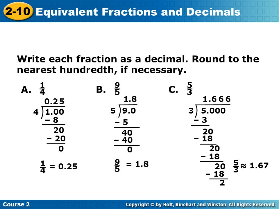 Equivalent Fractions and Decimals - ppt video online download