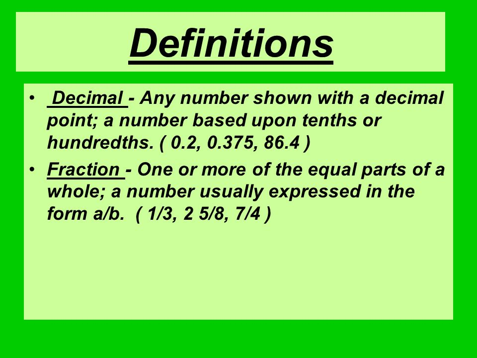 Decimals and Fractions - ppt video online download