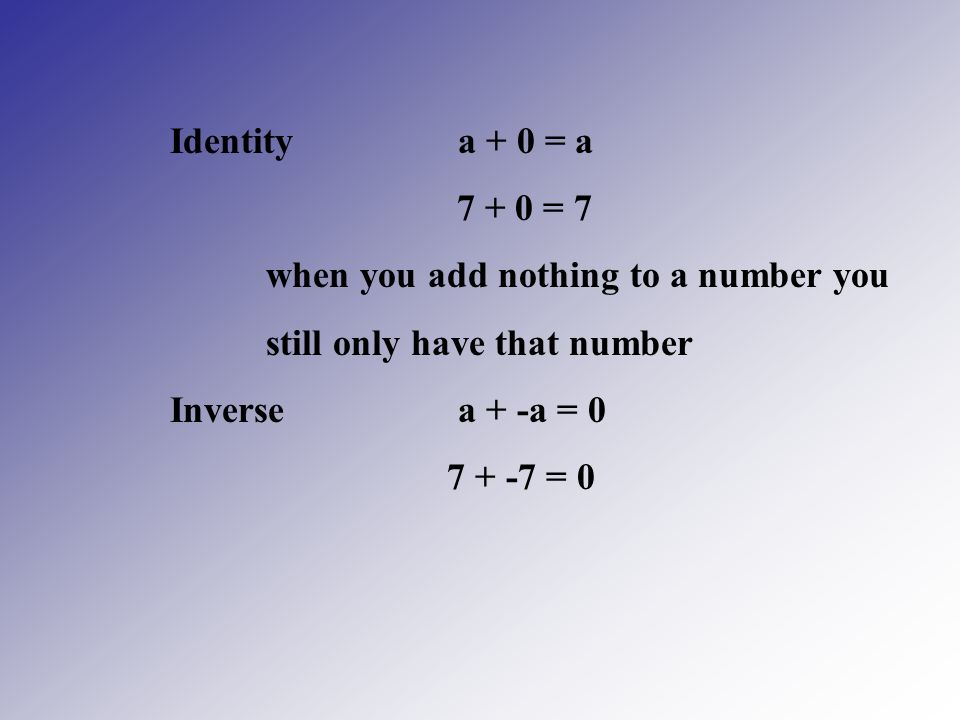 Identity a + 0 = a = 7. when you add nothing to a number you. still only have that number.