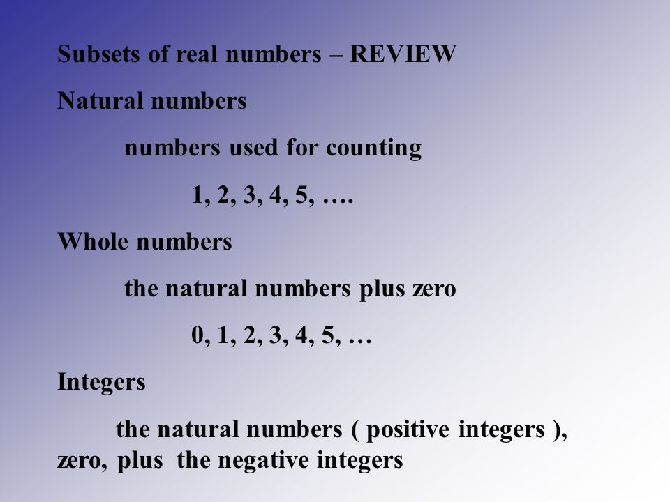 Subsets of real numbers – REVIEW
