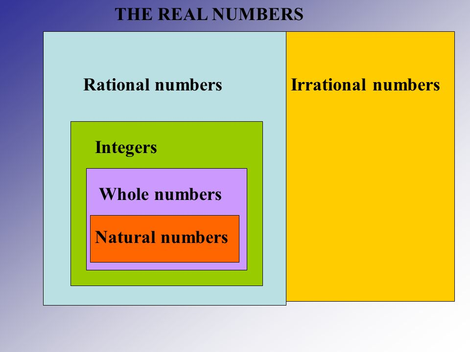 THE REAL NUMBERS Rational numbers Irrational numbers Integers Whole numbers Natural numbers