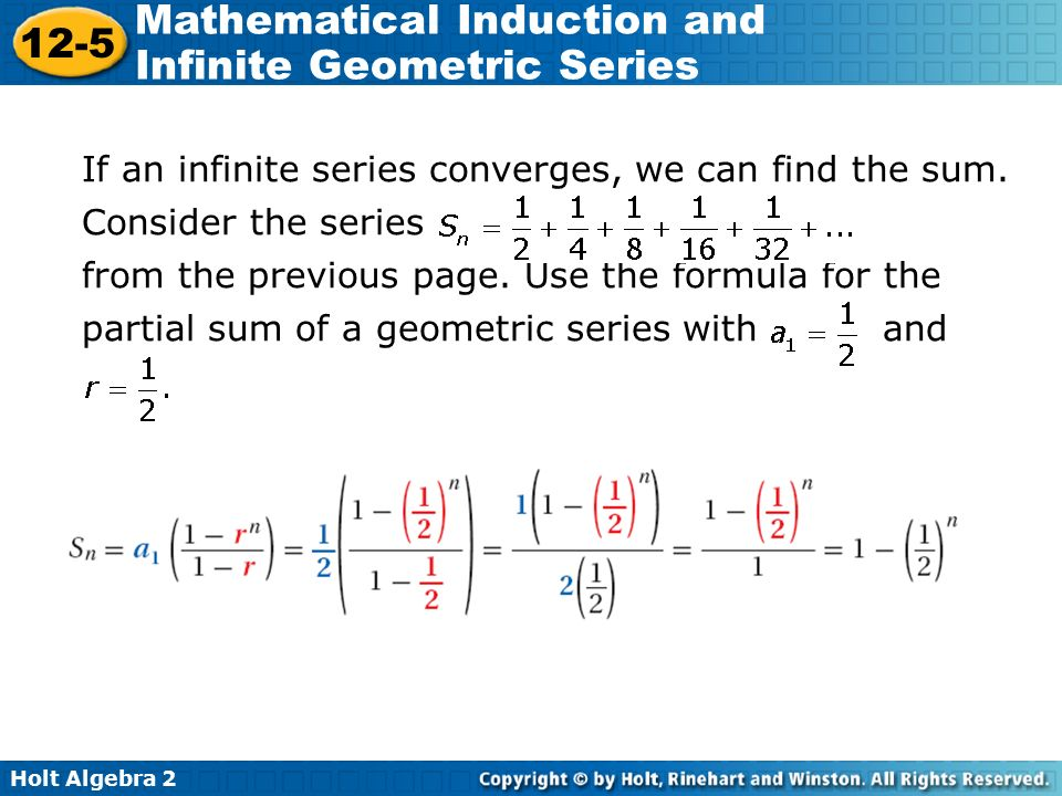 Find the sum of the infinite geometric series if it exists