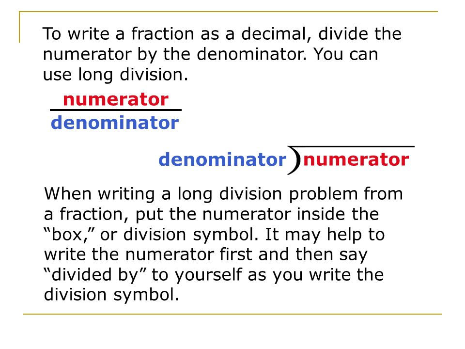 how to bring a denominator to the numerator