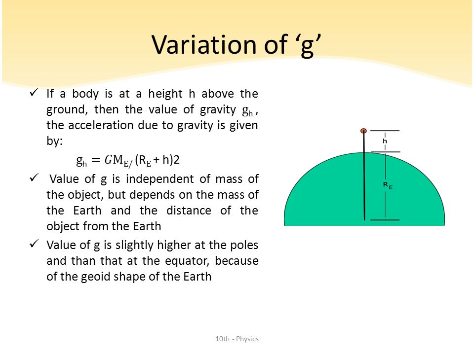 Variation of 'g' If a body is at a height h above the ground, then the value of gravity gh , the acceleration due to gravity is given by: