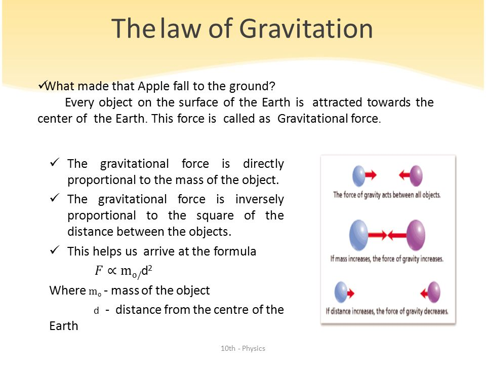 The law of Gravitation What made that Apple fall to the ground