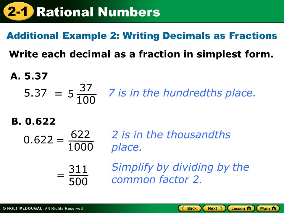 Additional Example 2: Writing Decimals as Fractions