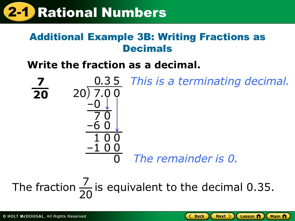 Additional Example 3B: Writing Fractions as Decimals
